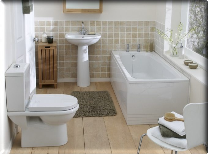 Fresh Small Bathroom Design With Wooden Floor