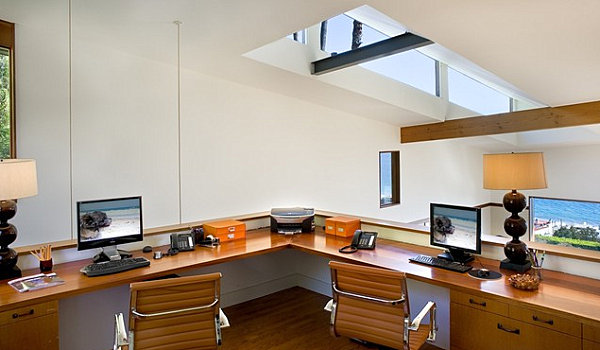 Home Office With Desktop Home Office Essentials And Wooden Nook Desk And Executives Chair Also Drawers For Storage