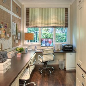 Inspiring Traditional Home Office With A Feminine Touch In White Interior And Wood Flooring
