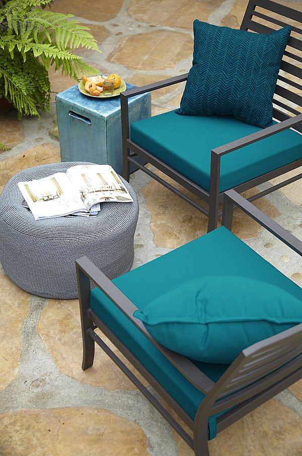 Interesting Vibrant Blue Patio Cushions In Outdoor Chair