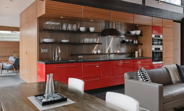 Kitchen Details Bold Colors Cabinet And Laminated Hanging Cabinet