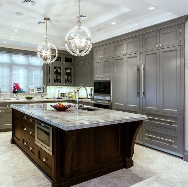 Kitchen Details With Grey Colors Cabinets In Classic Design