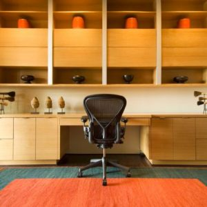 Large Home Office In Wood And Minimalist Design