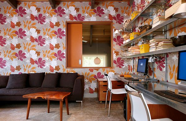 Lovely Home Office With Floral Wallpaper For Two Person