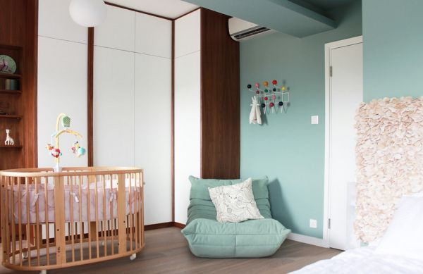 Lovely Combination Of Light Blue A Togo Chair Nd White Nursery