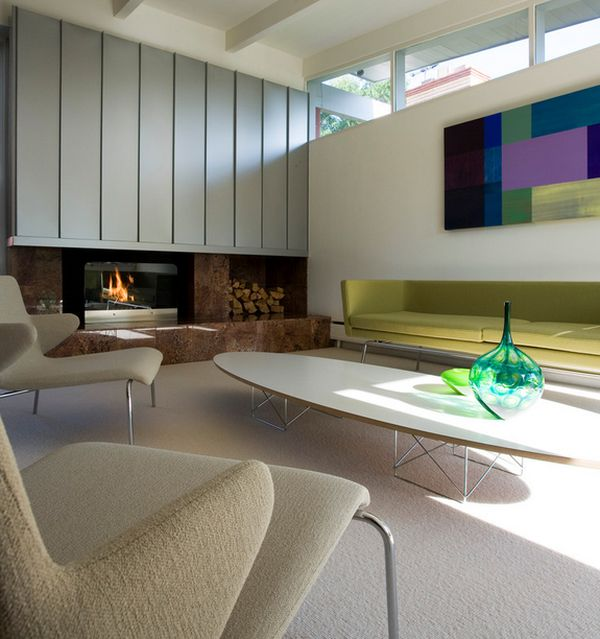 Low Elliptical Table In Family Room Decor With Fireplace