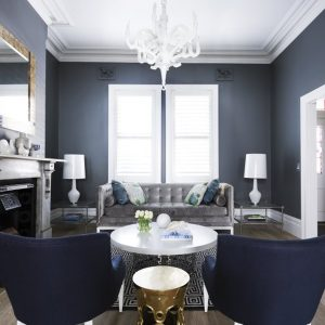 Luxury Interior Grey And Blue Details With Blue Armchair