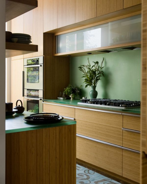 Minimalist Glass Cabinets Set In A Largely Bamboo Dominated Kitchen Modern Kitchen Cabinet Design