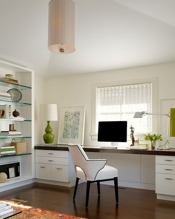 Minimalist Home Office Space With Stylish Furnishings And White Interior