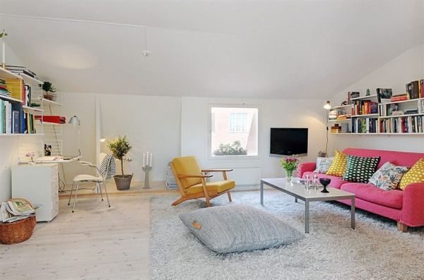 Minimalist Apartment Living Room With White Interior And Simple Furnishing Is Scandinavian Living Decor