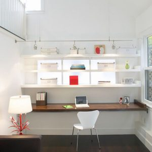 Minimalist Modern Home Office Design With Decorative Wood Table And Wall Shelving
