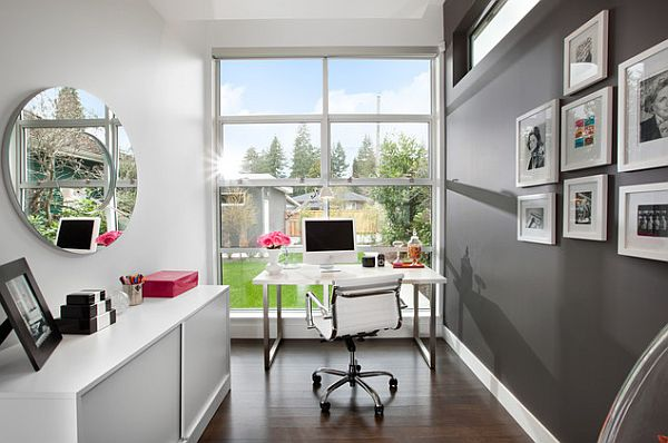 Minimalist Modern Home Office With White And Gray In Small Space Design
