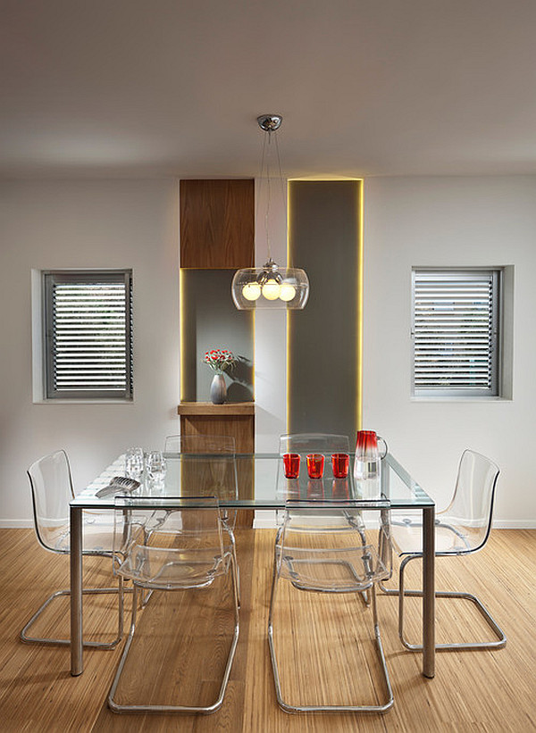 Modern Glass Kitchen Dining Table With Acrylic Chair