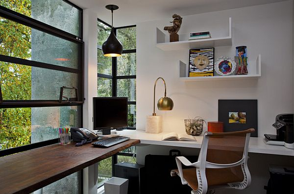 Modern Glass Windows And Wall Shelves In Corner Modern Study Room Design