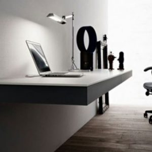 Modern Home Office Design Idea With Floating Wall Table Design And Minimalist Decor