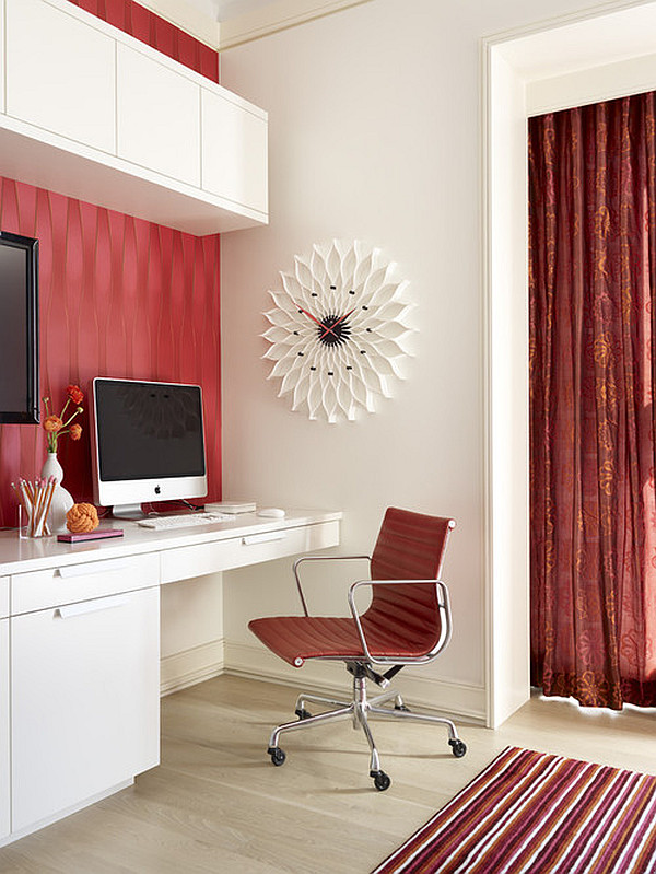 Modern Home Office In Red And White With Modern Furniture