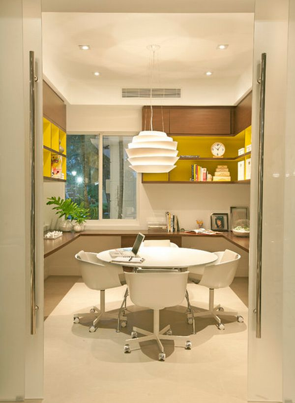 Modern Home Office With U Shape Table And Meeting Furniture