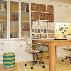 Modern Home Office With Cabinets And Shelves