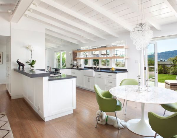 Modern Kitchen Decor With Green Chairs Combined With White Marble Top Tulip Table