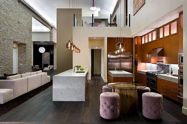 modern kitchen with glass round table on wood lod and pouff - Modern Kitchen Tables