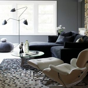 Modern Lounge Chair Along With Black Living Sofa