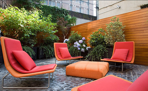 Modern Outdoor Chair Design With Colorful Garden Chairs In A Modern Yard