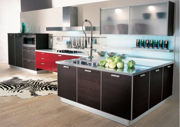 Neat Kitchen Design Sports An Array Of Colors And Textures Stylish Cabinet Design