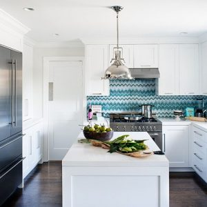 Neat Modern White Kitchen With Hung Cabinets Design