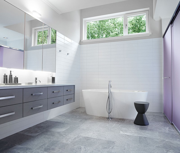 Neat Spacious Bathroom Design With White Tub And Modern Vanity