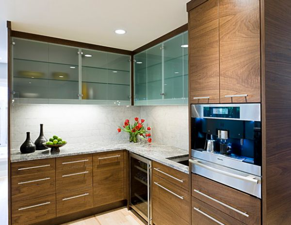 Nook Frosted Glass Cabinets Leave A Bit Mystery Thanks To The Translucent Look Stylish Kitchen Cabinets Design