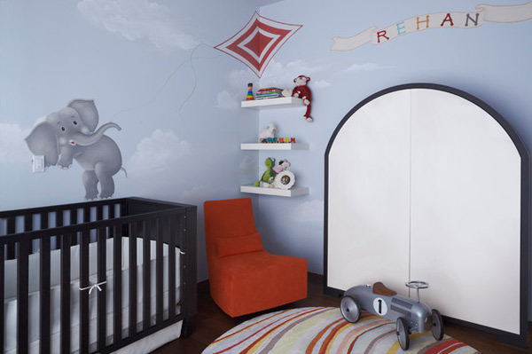 Orange Chair In Nursery Room By Modern Accent Chairs