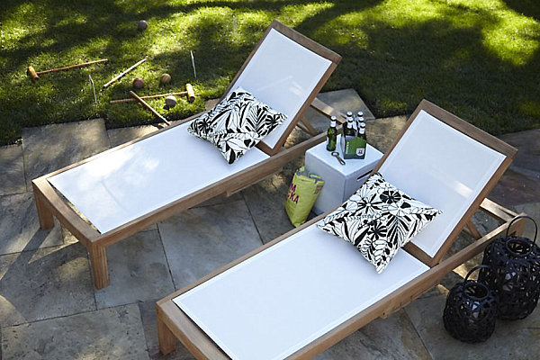 Owesome White Mesh Chaise Lounge With Cushions