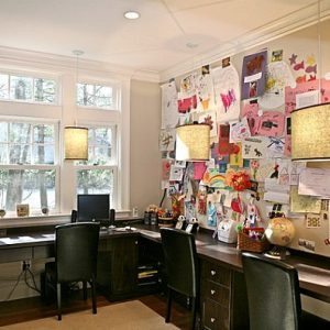 Pin Board In Transitional Home Office Design With L Dreawers Wood Desk And Chairs