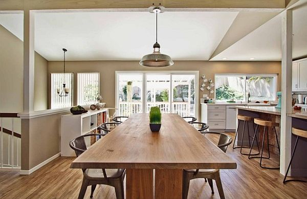 Rustic Modern Kitchen Decor With Wood Table And Wood Chair