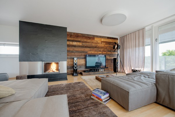 Rustic Wood Wall And Oak Wood Flooring Is Modern Penthouse Design