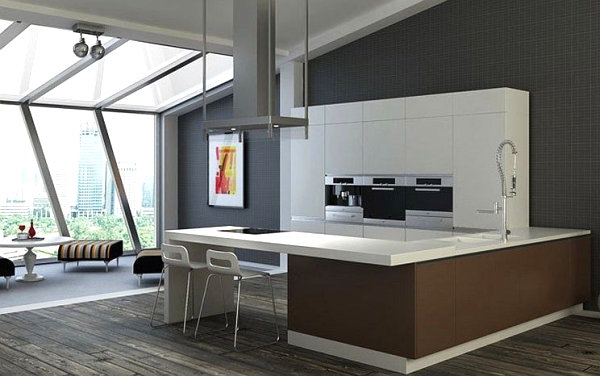 Simple White Bar In A Modern Kitchen And Wood Flooring