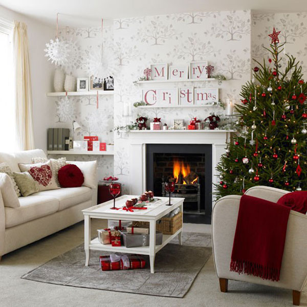 Small Christmas Living Room Decor In Minimalist House Design