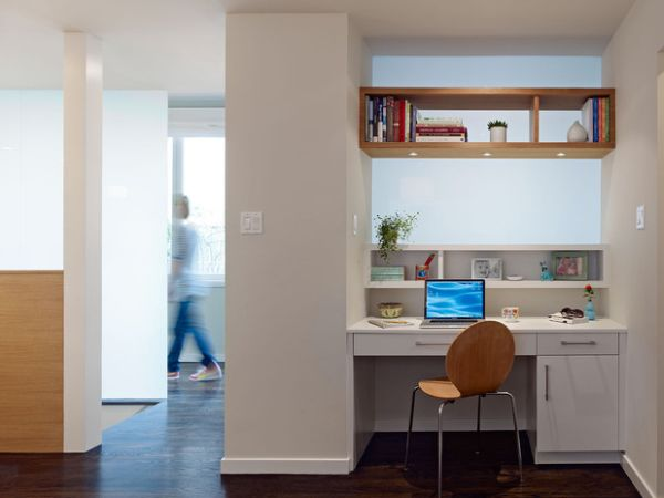 Small And Efficient Work Space With Wall Shelving And Recessed Wall For Work Space Design