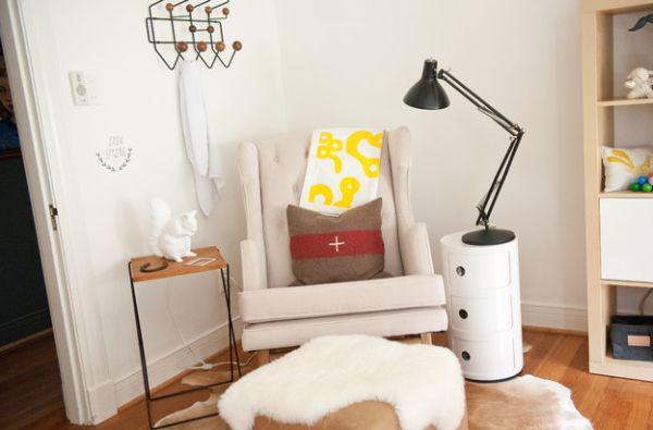 Small White Side Table With White Lounge Chair