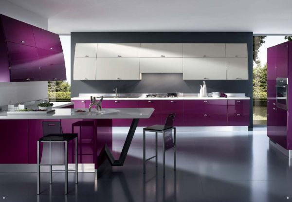 Strong Color Kitchen With Ergonomic And Bright Kitchen For The Chic Home