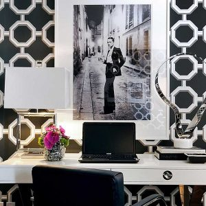 Stylish Home Office For A Chic Girl With Black Color Domination