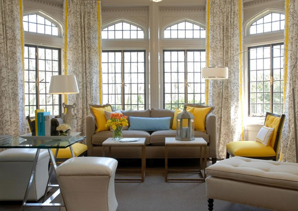 Tradirional Living Room Design With Yellow 21 Modern Accent Chairs And Curtain