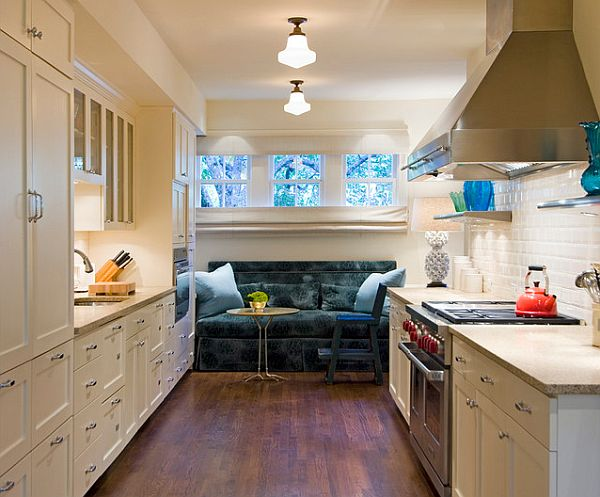 Traditional Galley Style Kitchen With Black Sofa And Coffee Table