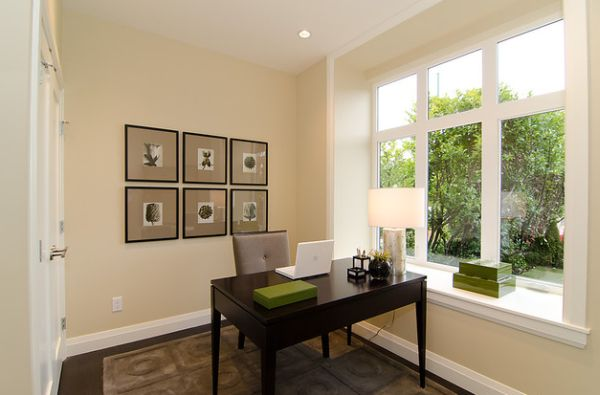 Traditional Home Office In Minimalist Design And Bright Interior