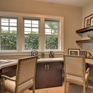 Traditional Home Office With Spring Colored And Transparent Windows