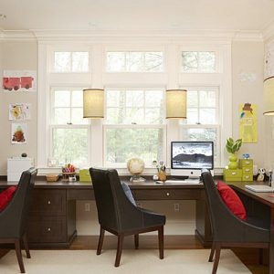 Traditional Meet Modern Home Office With U Shape Desk And Work Armchair