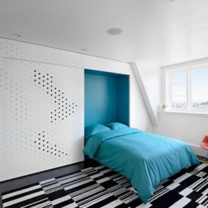 Trendy Bedroom With Blue Wall Bed Design For Minimalist Attic Bedroom