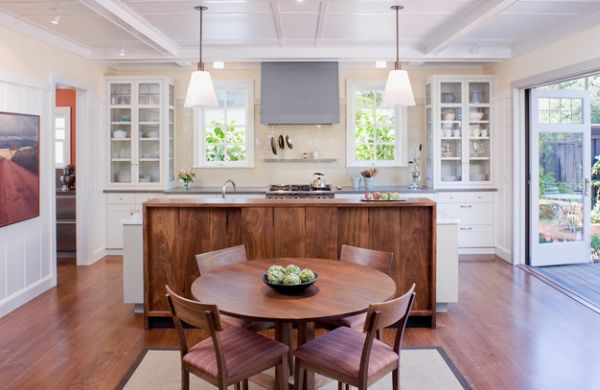 Twin Glass Shelves On Either Side Bring Symmetry To This Kitchen In White Feminine Cabinet Design