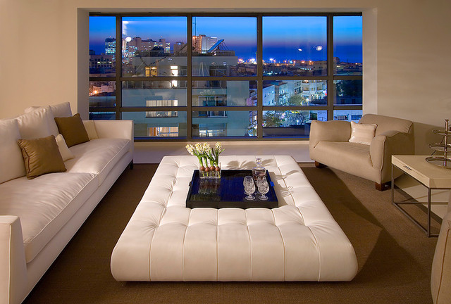 White Large Leather Ottoman Living Room Coffee Table For Modern Livingroom Furniture Design