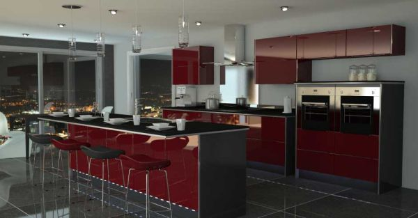 Wonderful Classic Kitchen In Red And Black Color